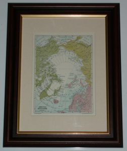 Arctic Regions Map page over 100 years old Map also available unframed