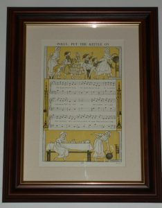 Polly Put the Kettle on nursery ryhme over 80 years old also available unframed