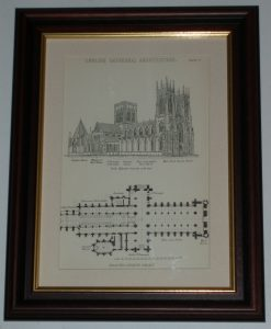 Print over 125 yrs old Architecture York Lichfield Cathedral available unframed